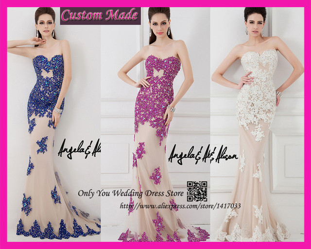 Purple Navy Blue White Sweetheart Crystals Long Lace Evening Dress ...