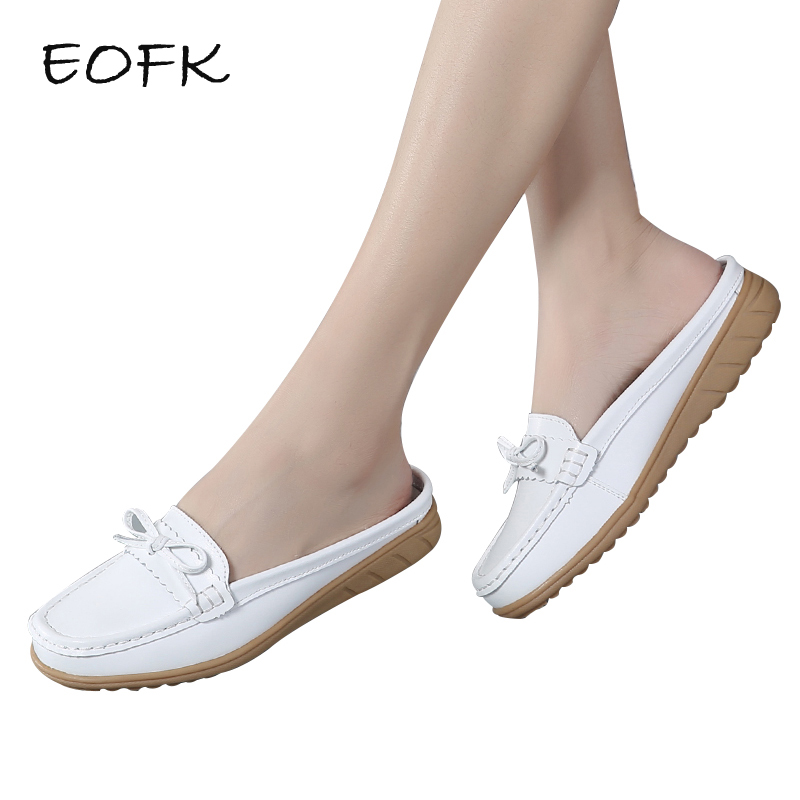 EOFK 2018 Summer Women Half Slippers Shoes Hollow Slip On Breathable Leather Shoes Woman Slides Outside Butterfly-knot Slippers 2017 new summer shoes woman slippers cozy leather classic slippers designer woman outside slippers tide woman shoes slippers