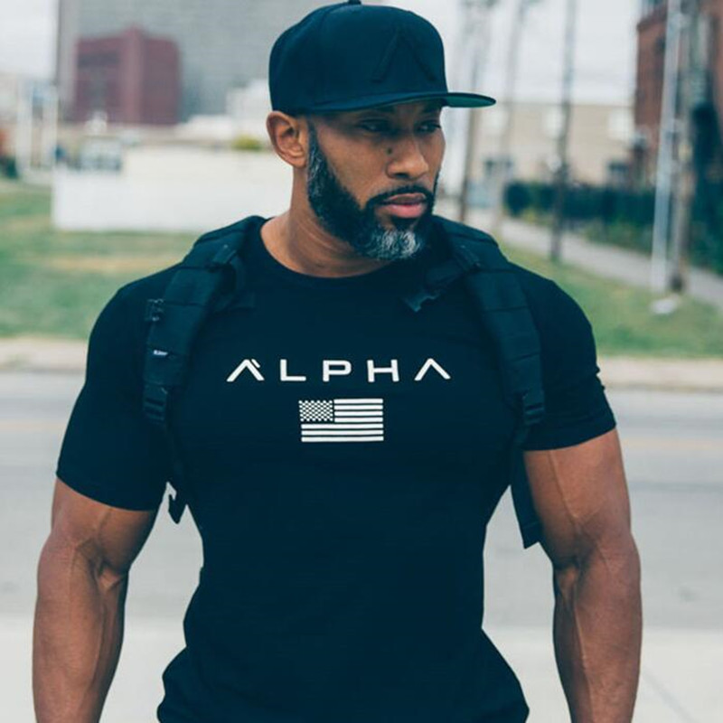 2018 Mens Military Army T Shirt 2017 Men Star Loose Cotton T-shirt O-neck Alpha America Size Short Sleeve Tshirts(China)
