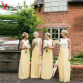 Yellow Chiffon Bridesmaid Dresses Sleeveless Lace Top Lemon gowns Long Floor Length robe demoiselle d'honneur Custom Made