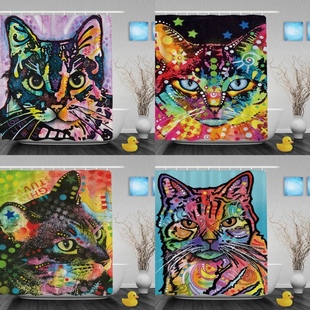 Cute Cat Shower Curtain Art Pet Dog Waterproof Bathroom Creative Polyester Colorful Animal Decoration With Hook