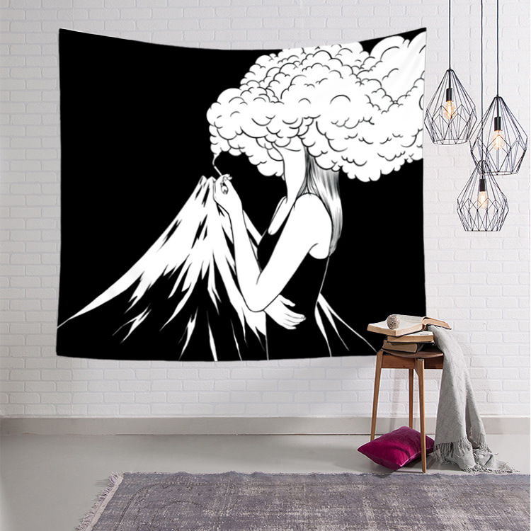 Pop Art Black & White Creative Tapestry Polyester Rectangular Living Room Bedroom Home Decor Background Decoration Wall Hanging