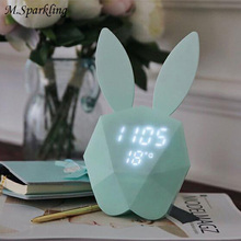 M.Sparkling Desk Clock Bunny Luminova Digital Table Clocks Intelligent LED Mute Multi Function Wall Clocks Alarm Clock Home Saat