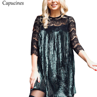 Capucines 2017 Autumn Winter Sexy Hollow Out Lace Patchwork Velvet Dress Women Three Quarter Fashion Pleated