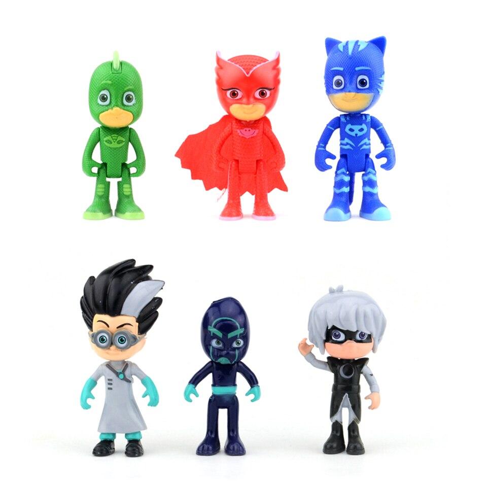 6 pz/set Hot Anime Figure pj maschera Carattere Catboy Owlette pjmask Action Figure Giocattoli Ragazzo Regalo Di Compleanno