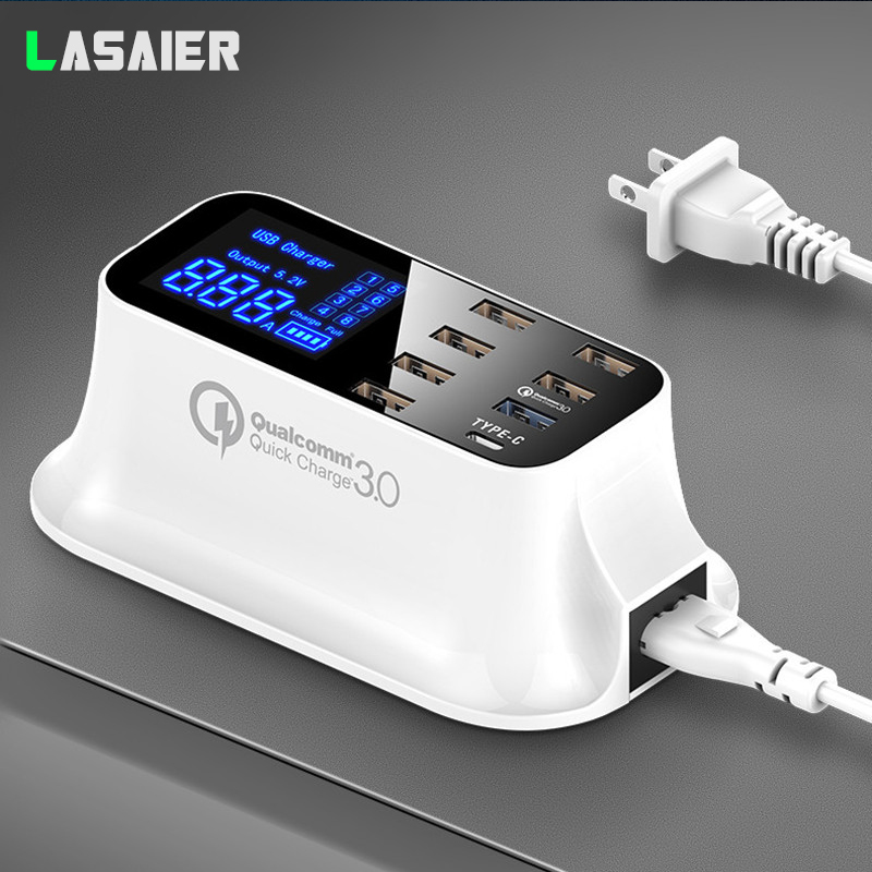 Quick Charge qc 3.0 Smart USB Type C Charger Station Led Display Fast Charging Multi USB Charger For iPhone Tablet Phone Adapter