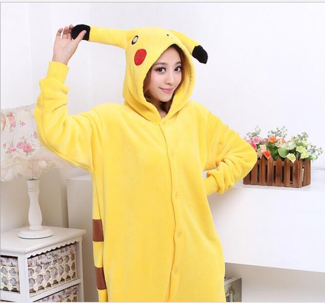 New 2017 Adult Pikachu Costumes Onesie Animal Cosplay Costume Unisex Fancy Pokemon Pikachu Pyjamas Hoodie Pajama Pijama
