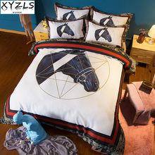 XYZLS US/AU/UK Queen Bedding Set 3pcs/set Cotton Horse Twin Full Bedclothes Animal King Bedding Kit Single/Double Bed Linings(China)