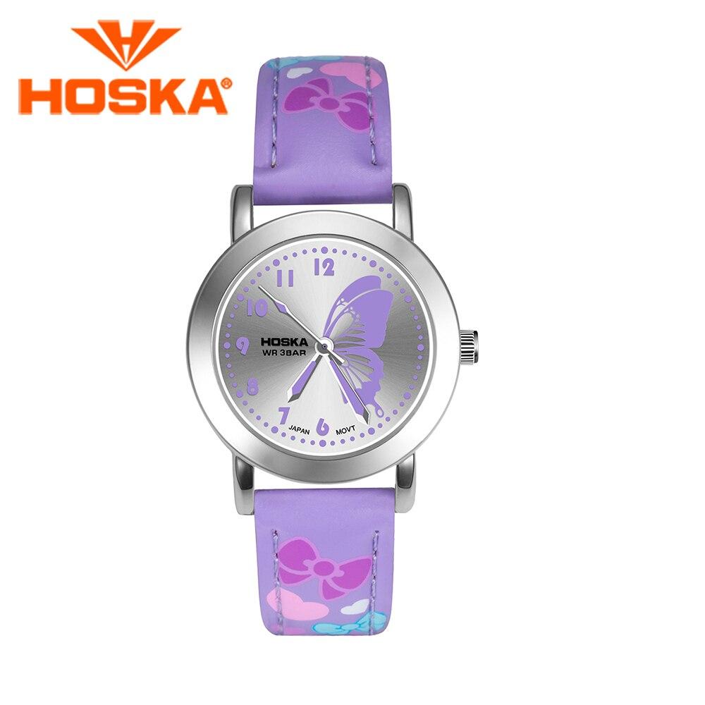 Brand HOSKA Children S Watches Kids Quartz Watch Student Girls Quartz Watch Cute Colorful Butterfly Waterproof