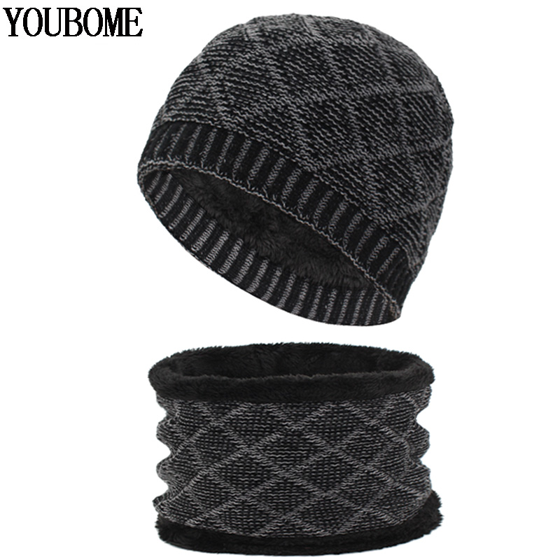 YOUBOME Winter Knitted Hat Man Scarf   Skullies     Beanies   Male Women Winter Hats For Men Warm Mask Wool Thick Scarves Cap   Beanie   Hat