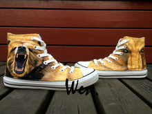 Wen Design Custom Men s Hand Painted Shoes Grizzly Bear High Top Boys Man s Canvas