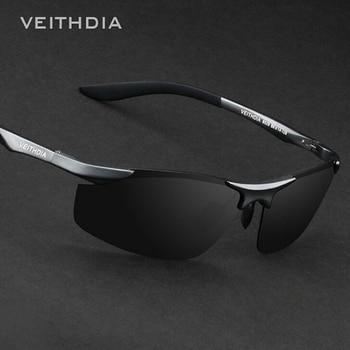 838014db56 VEITHDIA marca diseñador sin montura gafas de sol de aluminio para hombre  lentes polarizadas gafas de sol para hombres 6529