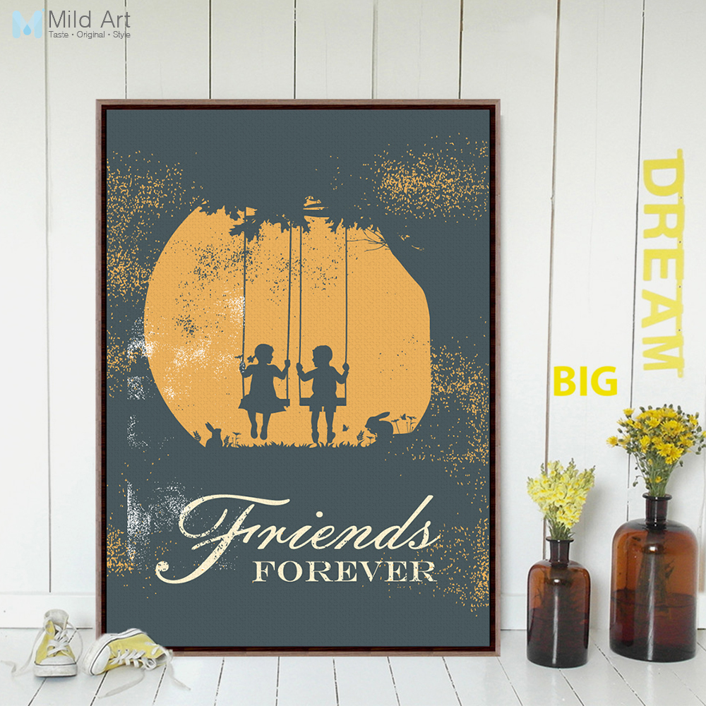 Vintage Retro Girl Boy Friendship Quotes A4 Art Print Poster Wall Picture Living Room Canvas Painting Home Decor Gifts No Frame image