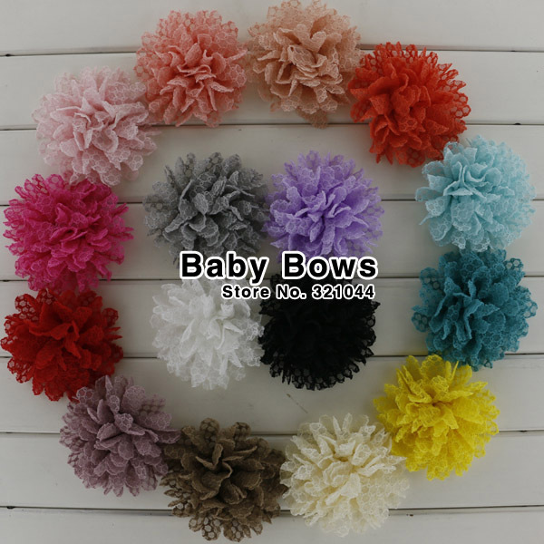 Babymatch 60pcs 3.5 Fabric Hair Flower Lace Hair Flowers With Clip Artificial Flowers Hair Clip Hair Accessories