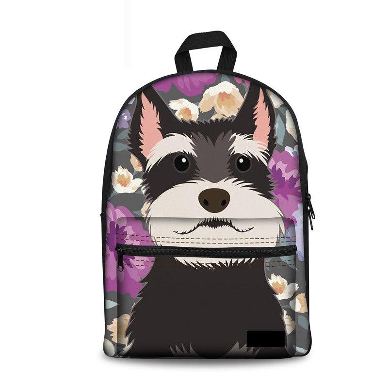 Fashion Schoolbag For Children Schnauzer Flower Women Double Zipper School Backpack Female Book Knapsack Mochila Infantil
