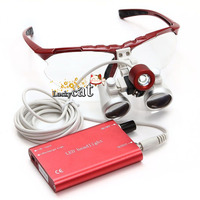 1Set Dental Loupes 3 5X420mm Surgical Glasses With LED Head Light Lamp Surgical Dentists Magnifier