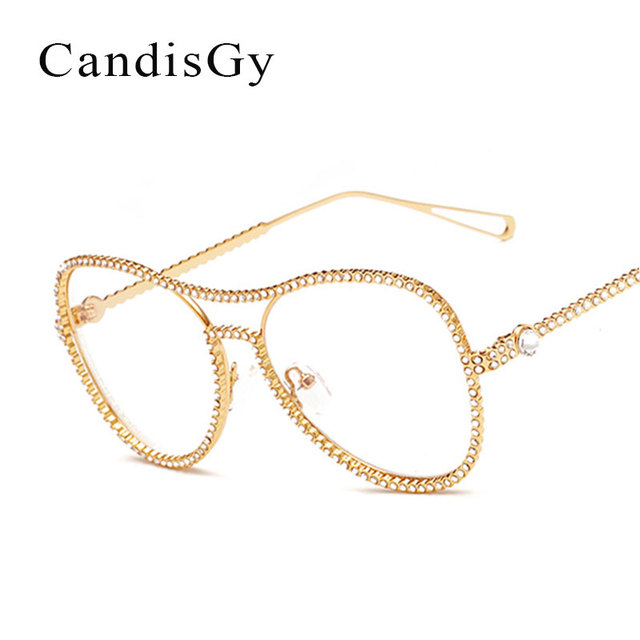 vintage glasses luxury frame brand designer women diamond metal