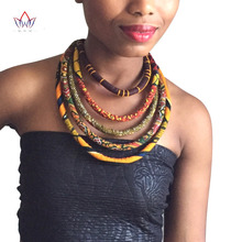 2019 African Wax Print Colorful Necklace Ankara Knot Necklace African Print Fabric Jewelry for Women WYA086