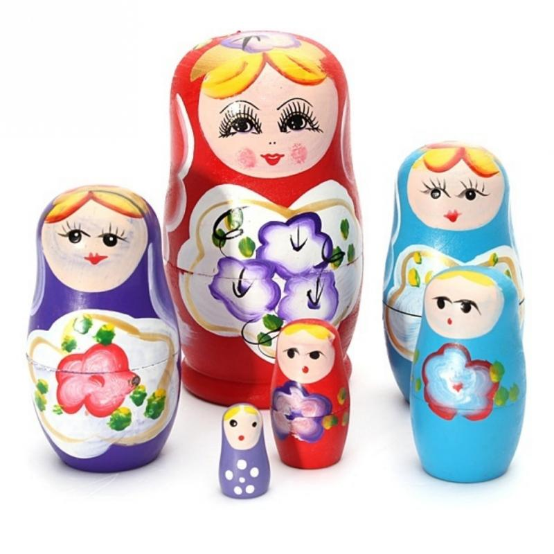 5x Russian Matryoshka Hand Painted Wooden Nesting Toys Russian Stacking Dolls US