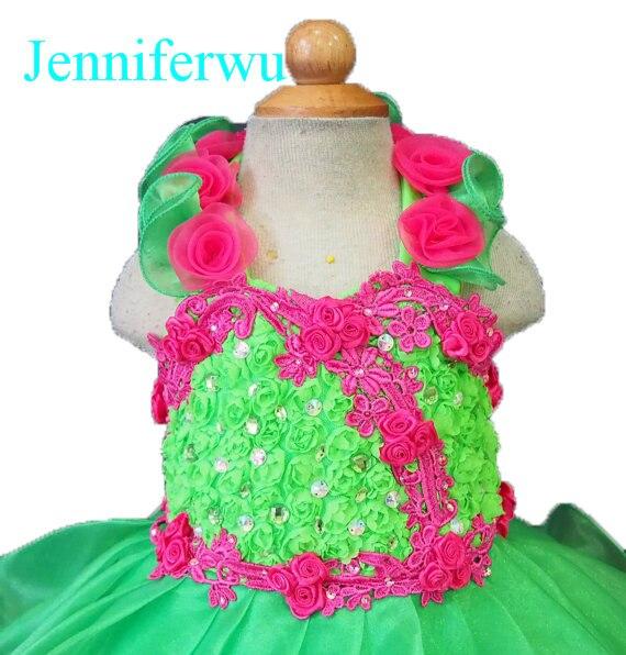 цена  crystal and rhinestone beaded baby girl  pageant dress 1T-6T G099-2  онлайн в 2017 году