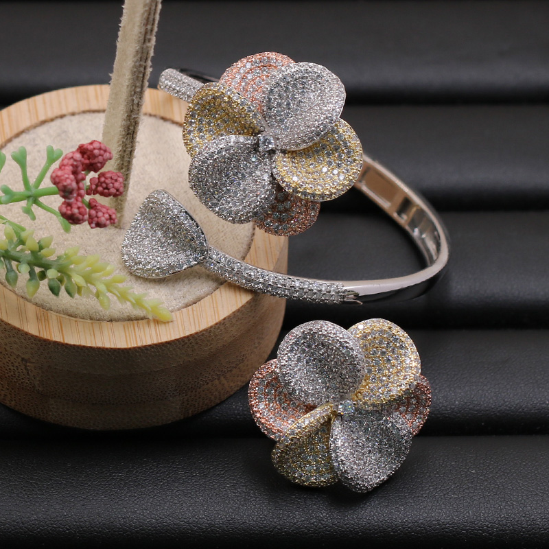 Lanyika Jewelry Set Fleshiness Flowers Bangle with Ring for Girl Banquet Wedding Micro Inlay Popular Luxury Best Gifts-in Jewelry Sets from Jewelry & Accessories    1