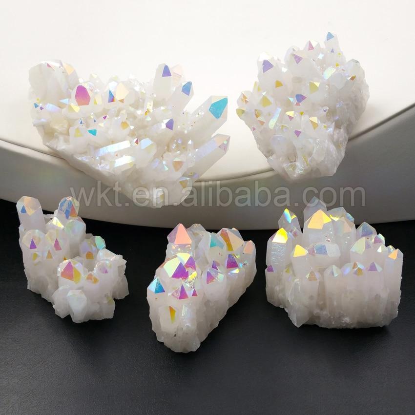 WT G222 Gorgeous Aura Crystal Quartz Cluster Stone Healing Stone Angel AB Colors Display Stone Crystal
