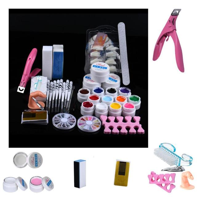 New Top Fashion 20 in 1 Combo Set Professional DIY UV Gel Nail Art Kit Brush Buffer Tool Nail Tips Glue Acrylic Set Anne