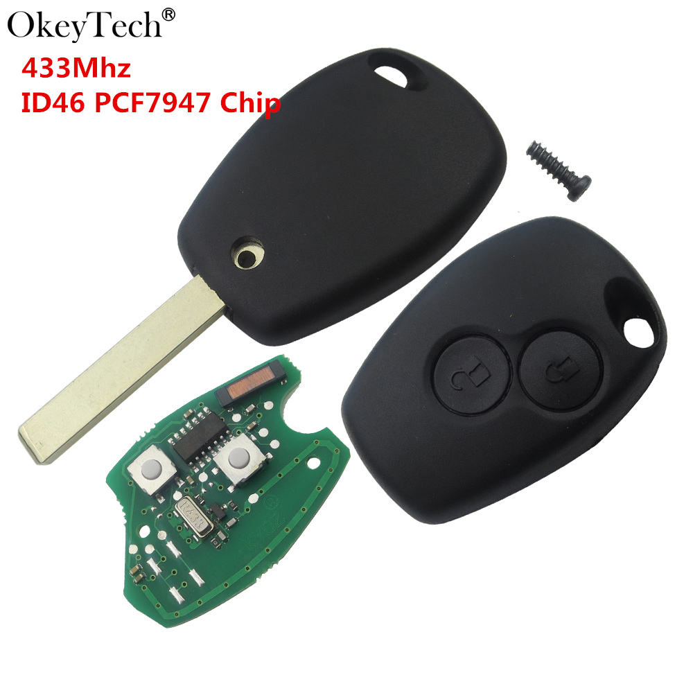 Okeytech Remote Car Key 433Mhz PCF7947 ID46 Chip For Renault Duster Modus Clio 3 Twingo DACIA Logan Sandero Wholesale DiscountOkeytech Remote Car Key 433Mhz PCF7947 ID46 Chip For Renault Duster Modus Clio 3 Twingo DACIA Logan Sandero Wholesale Discount