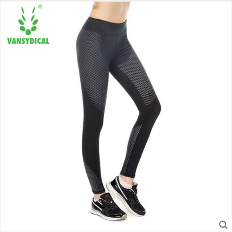 VANSYDICAL Women Yoga Pants Sport Fitness Running Sportswear Tights Geometric Figure Compression Trousers Gym Slim Legging Pants