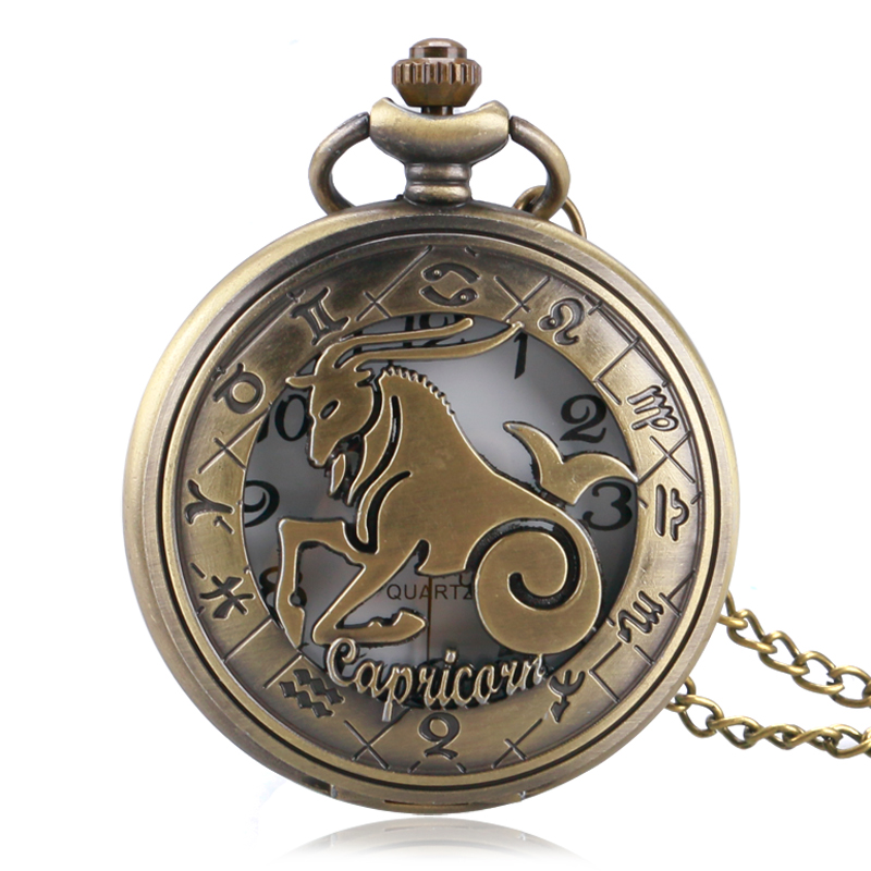 Constellation Zodiac Designer Capricorn Hollow Quartz Pocket Watch Bronze Antique Fob Clock With Necklace Chain Men Women Gift antique gear roma numbers glass dome quartz pocket watch steampunk fob clock with necklace chain men women gift free shipping