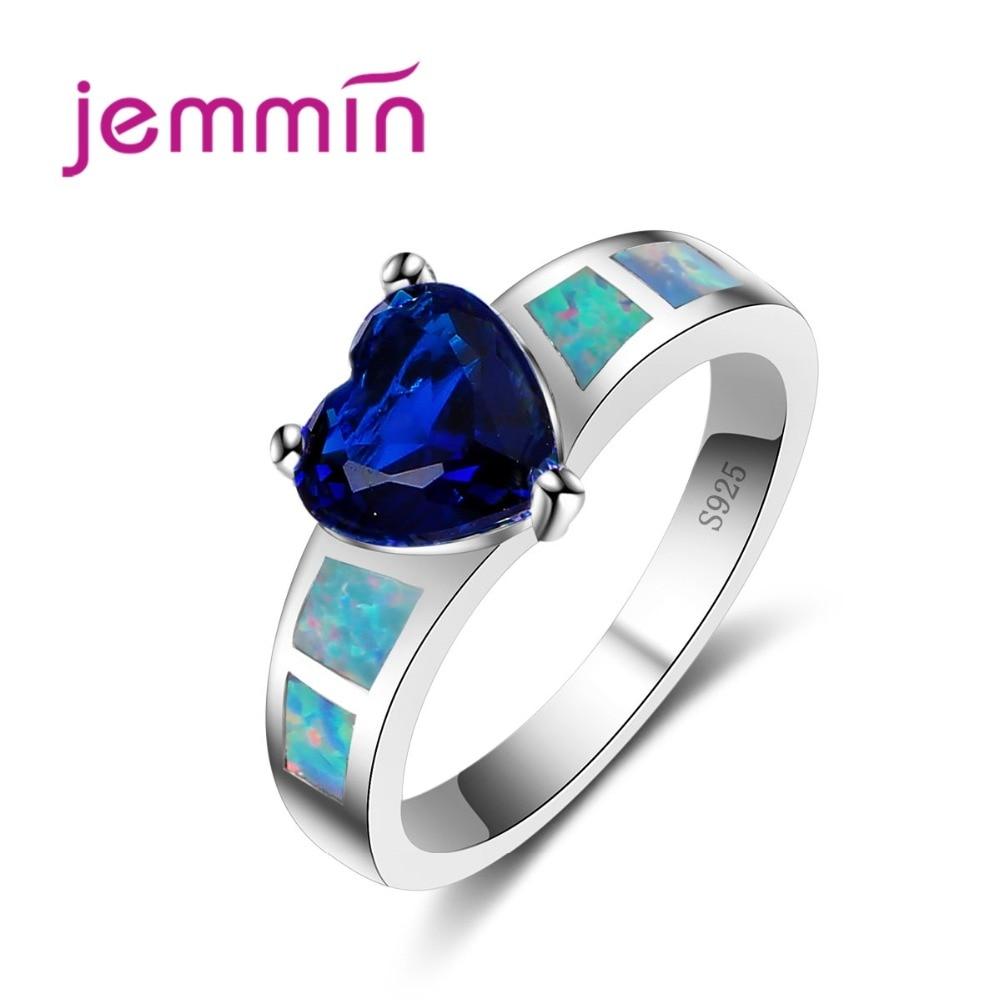 Fini vjenčani prstenovi od 925 sterlinga za žene u obliku srca, plavi kristalno angažovani, obljetnici, Anillos, bižuški pribor