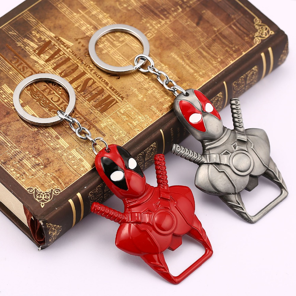 hsic 10pcs lot deadpool keychain beer bottle opener key rings mask alloy metal key chain for. Black Bedroom Furniture Sets. Home Design Ideas