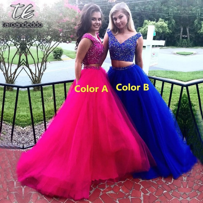 Long Prom Dresses Beaded 2 Pieces Evening Dresses V Neck Tulle A Line Formal Party Dresses