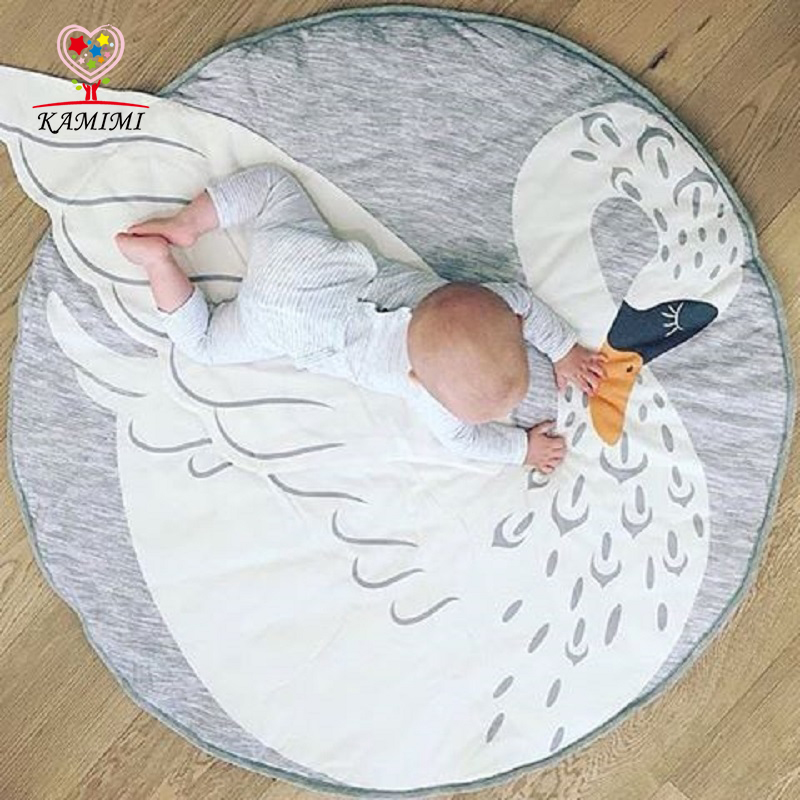 KAMIMI Swan Blanket Baby Play Mat 2017 New Swan Printed Baby Bedding Blanket Children's Room Decoration Infant Crawling Mat