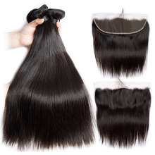 Alibele Peruvian Straight Hair 3 Bundles With Frontal Closure Virgin Human Hair 13x4 Pre Plucked Lace Frontal With Bundle(China)