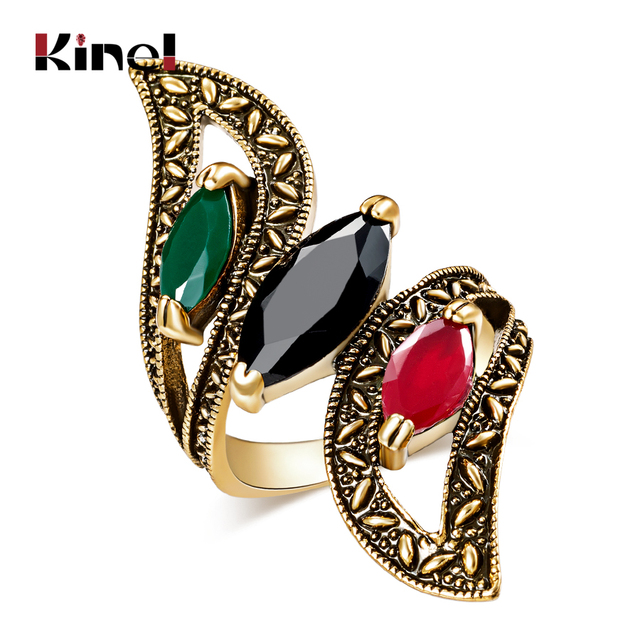Fashion 2016 Vintage Big Ring Antique Gold Color Mosaic Colorful Resin Rings For