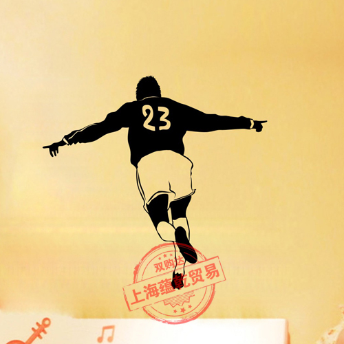 Football Vinyl Wall Sticker Soccer Player Brazil Mural Art Wall Decal Boys Bedroom Livin ...