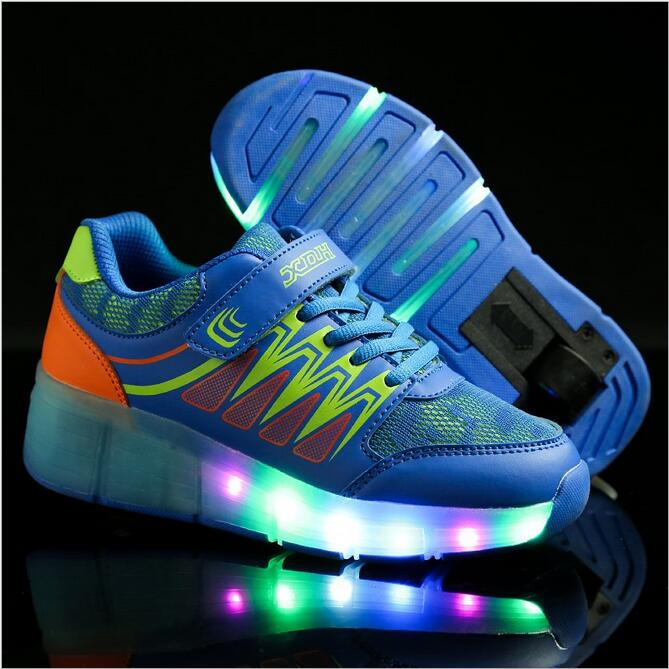 Wheel Glowing Sneakers LED Light Shoes Boys Girls Toddler/Little Kids/Big Kids Flashing Board Casual Breathable Roller Skates joyyou brand usb children boys girls glowing luminous sneakers teenage baby kids shoes with light up led wing school footwear
