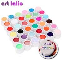 Artlalic 36 colores juego de gel UV cubierta pura decoración de Color para uñas puntas de arte extensión manicura herramientas de bricolaje