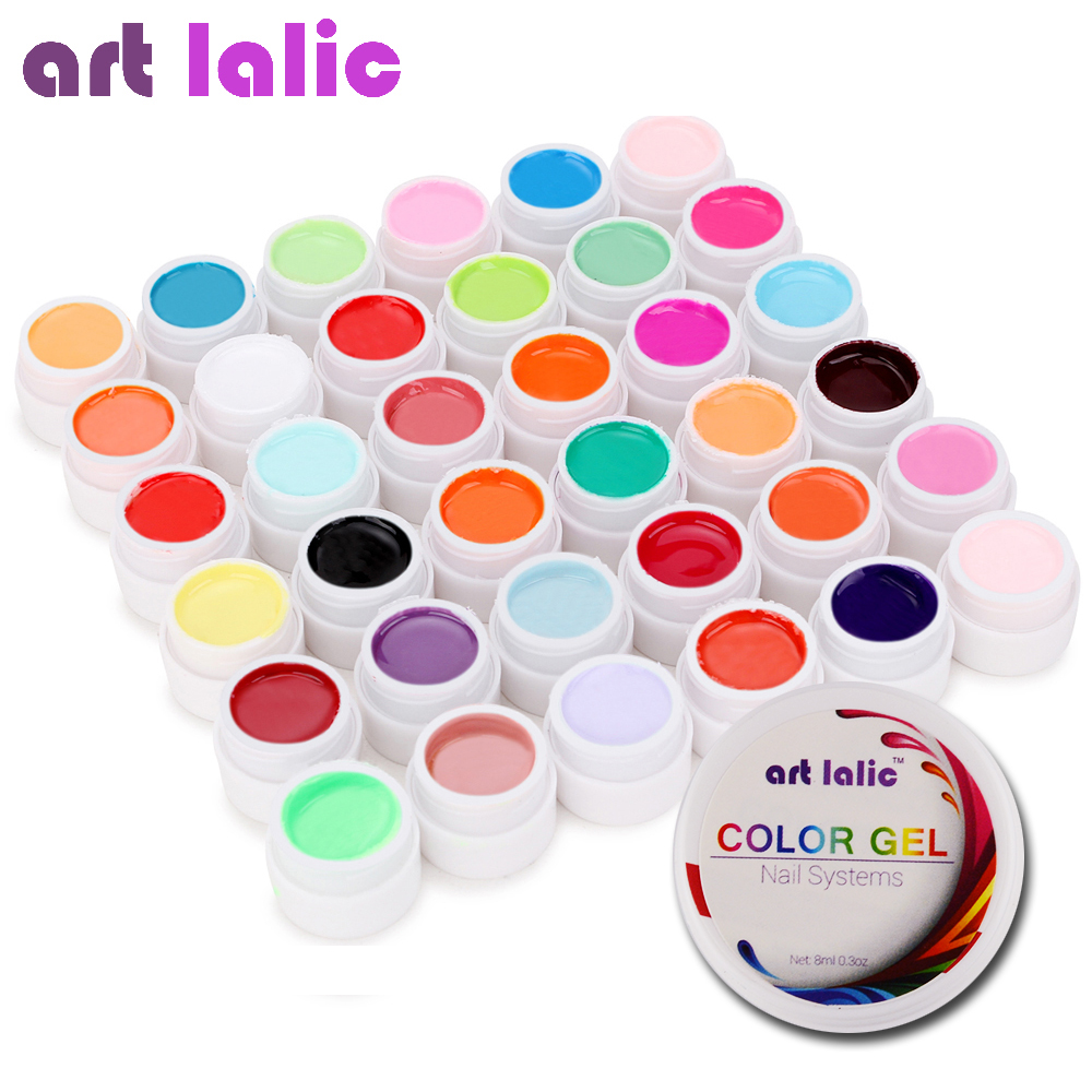 Artlalic 36 Colors UV Gel Set Pure Cover Color Decor For Nail Art Tips Extension Manicure DIY Tools 120 180 colors professional manicure salon nail art uv gel polish tips card display board book chart palette 3 colors