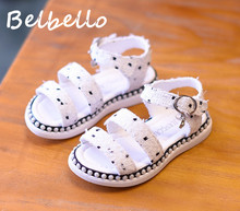 Belbello Girls Sandals Children Shoes Kid Flats Summer Fashion Casual Weaving Fabric Loop Buckle Strap Thick Soft Rubber Shoes