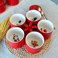 Mignon de bande dessinée rouge tasse en céramique belle animaux tasse de café Creative de Santa Claus singe pingouin boissons tasse