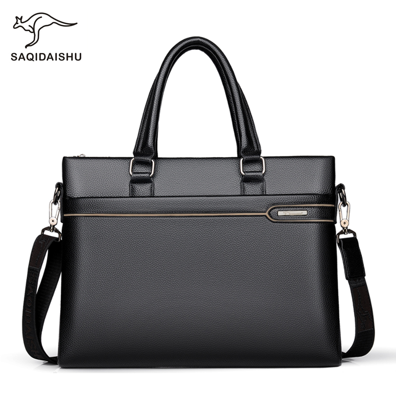 Fashion Casual Business Men Briefcases Luxury Brand High Quality PU Wearproof Male Shoulder Bag Messenger Briefcases
