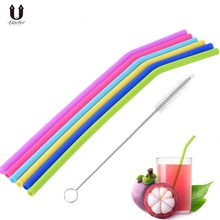 Uarter 6PCS Silicone Reusable Drinking Straws Food-grade Straws Colorful Drinking Straw Sets with Cleaning Brush