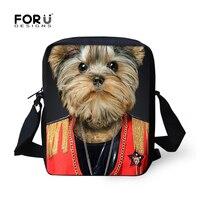Preppy Style 3D Animal Men's Travel Shoulder Bags Yorkshire Terrier Pet Dog Boys Crossbody Bag Kids Messenger Hand Bags Bolsas