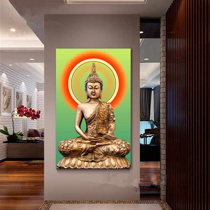 Religieux bouddha icône diamant peinture point de croix portrait mosaïque plein diamant broderie carrée strass broderie personnes