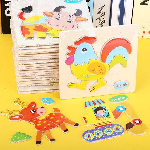 Бутик Детские деревянные блоки головоломки игрушки Игрушка-пазл для раннего развития Детские деревянные Мультяшные животные ручные захватывающие Пазлы