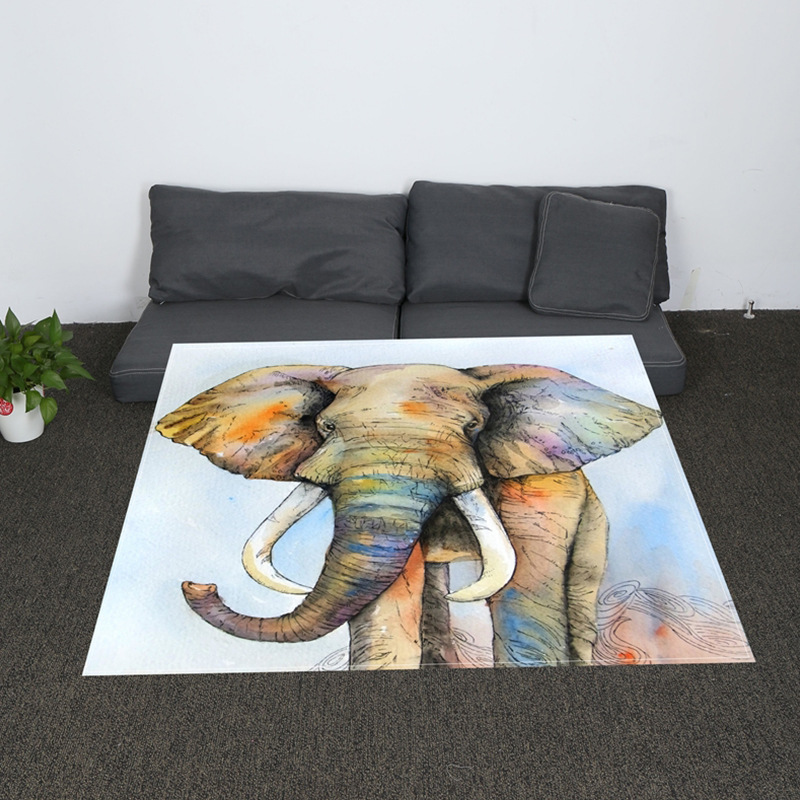 Digital Print Elephant Rooster Soft Blanket Watercolor Dreamcatcher Sherpa for Couch Blue and Pink Throw Travel