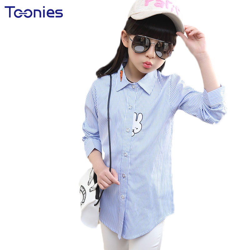New Summer 2017 Fashion Girls School Blouses Cute Cartoon Rabbit Embroidery Children Clothing Striped Baby Girl Clothes Shirts