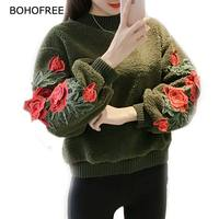 BOHOFREE Winter Woolen Pullovers Blusas O Neck Loose Long Sleeve Rose Floral Embroidery Blouses Tops Sweet